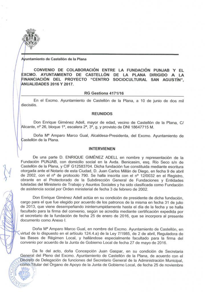 PDF Convenio de colaboracion entre la Fundacion Punjab y Ayuntamiento de Castellon